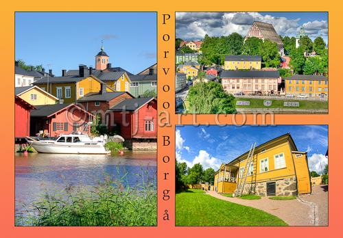 Vanha Porvoo postikortin taitto. Taittaja: Markus Kauppinen
